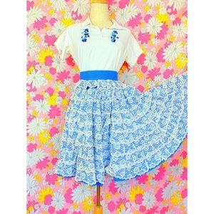 Vintage 70s Gunne Sax Easter Prairie Style Skirt